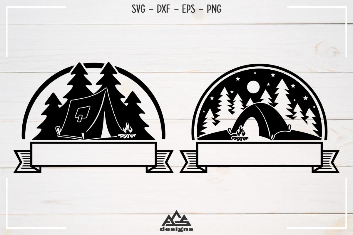 Camp Camping Ribbon Svg Design example image 1