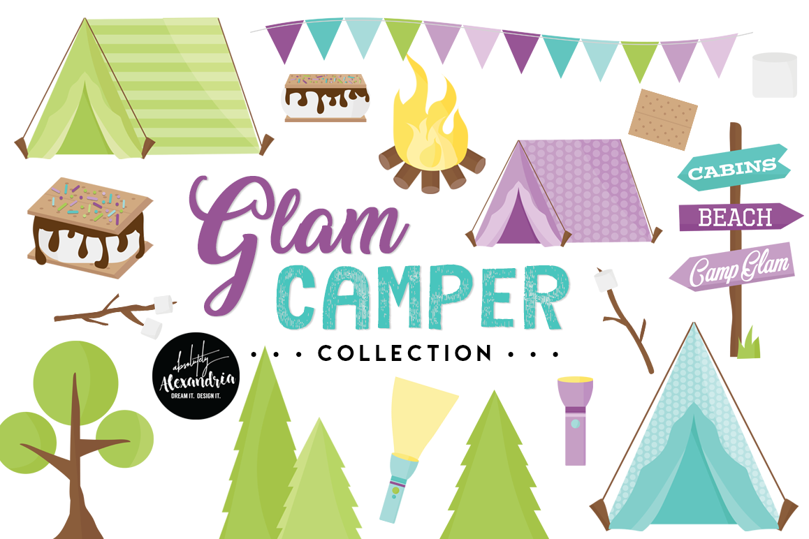 Glam Camper Clipart Graphics & Digital Paper Patterns Bundle example image 1