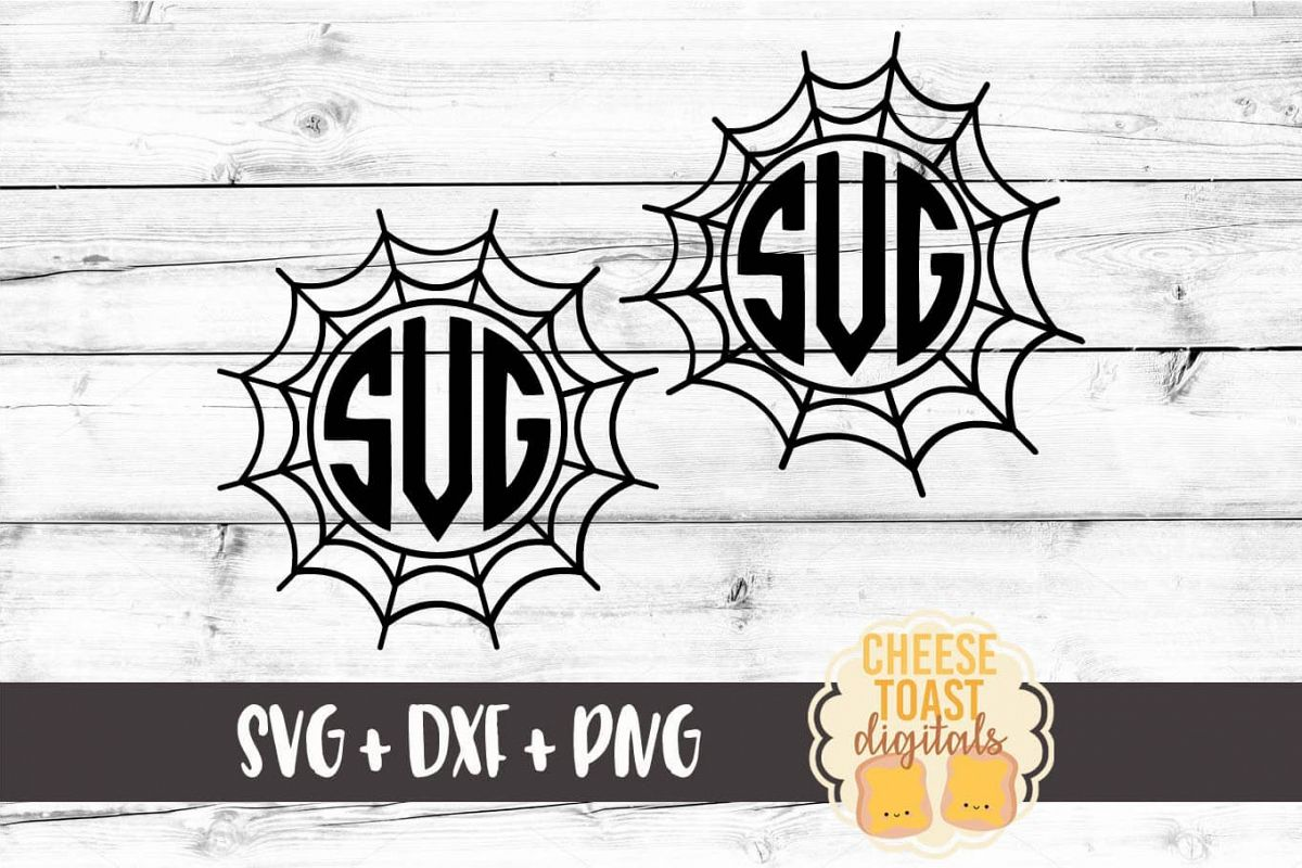 Spider Web Monogram Frames - Halloween SVG PNG DXF Cut Files example image 1