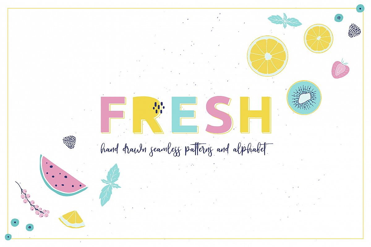 Fresh fruits & berries color art example image 1