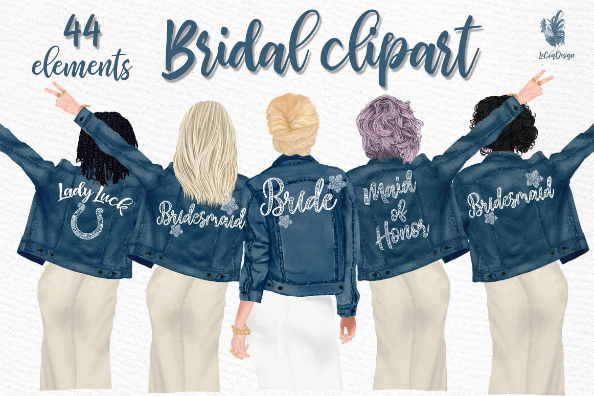 Wedding clipart,Bridesmaid clipart, Bride in Jackets clipart example image 1
