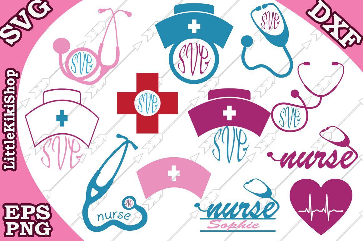 Nurse Svg, NURSE MONOGRAM SVG, Stethoscope Svg,Nurse hat Svg example image 1