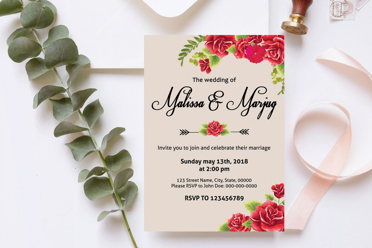 Red Flower Wedding Invitation Template