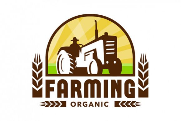 Tractor Wheat Organic Farming Crest Retro example image 1
