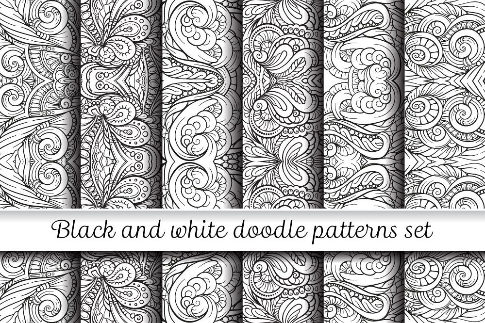 Black And White Symmerty Doodles Patterns Set Adorable Doodle Patterns