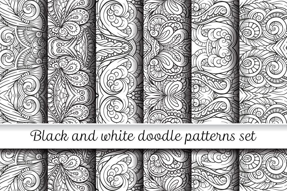 Black And White Symmerty Doodles Patterns Set Adorable Doodle Patterns