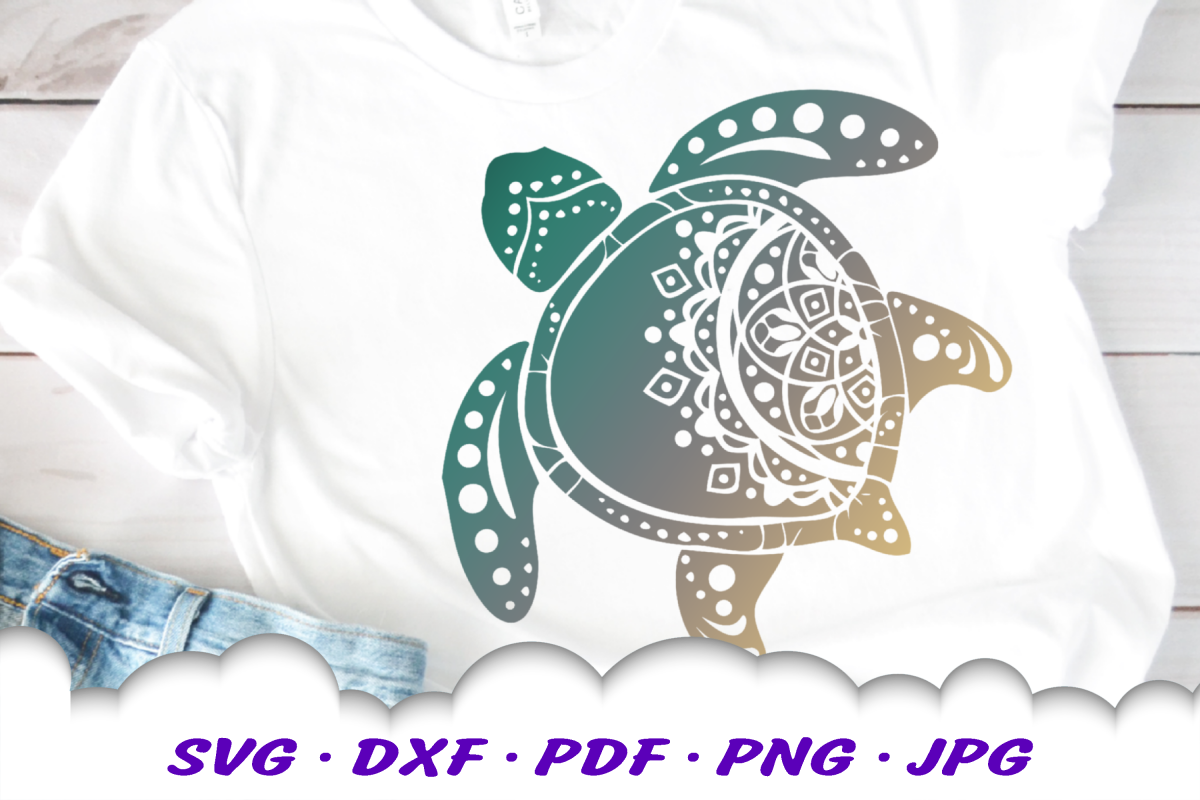 Mandala Sea Turtle SVG DXF Cut Files example image 1