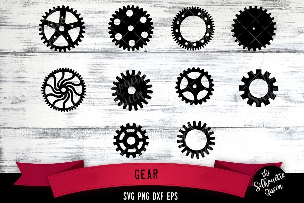 Gears svg file, svg cut file, silhouette studio example image 1