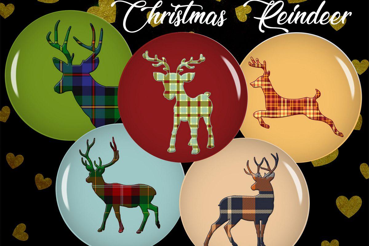 Digital Collage Sheet,Reindeer Bottle caps,Reindeer Cabochon example image 1