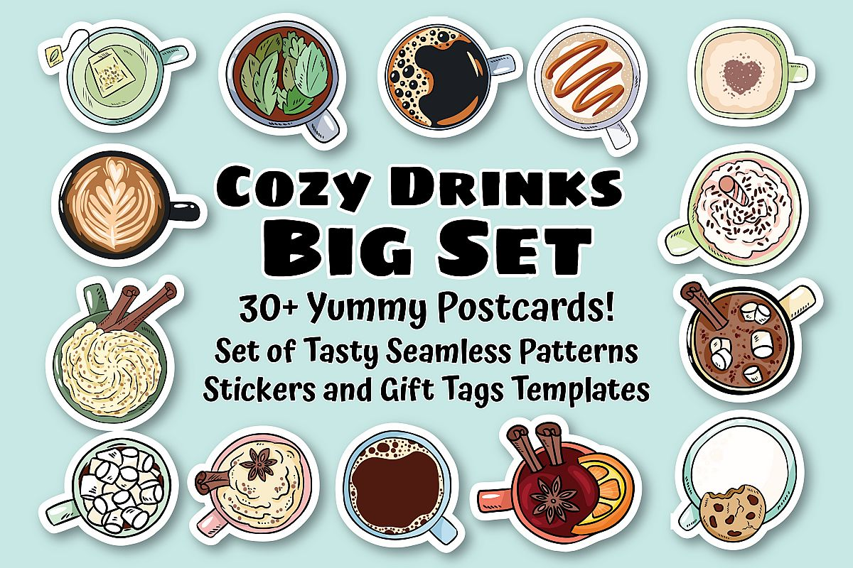 Cozy Drinks & Warming Postcards Set example image 1