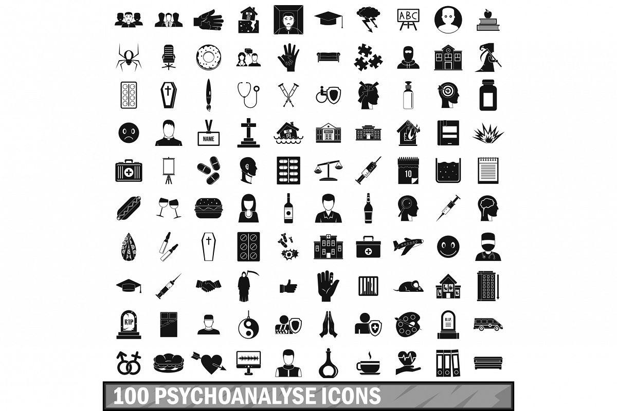 100 psychoanalyse icons set, simple style example image 1