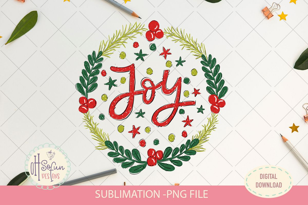 Joy christmas sublimation, christmas wreath doodle example image 1