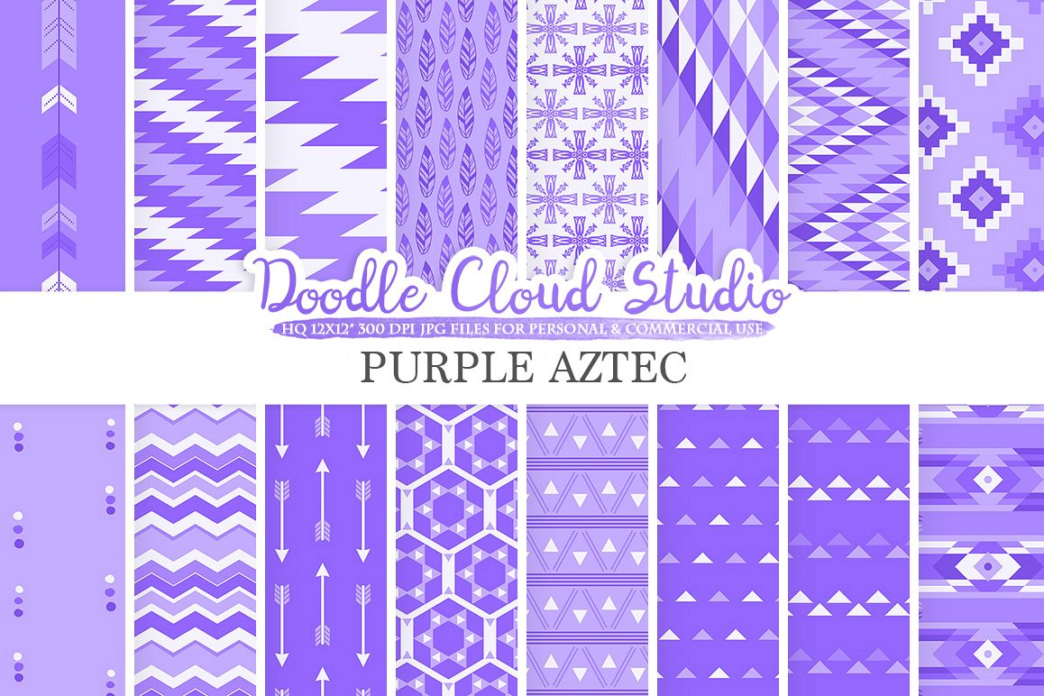 Purple Aztec digital paper, Tribal patterns native triangles geometric ethnic arrows background, Instant Download, Personal & Commercial Use example image 1