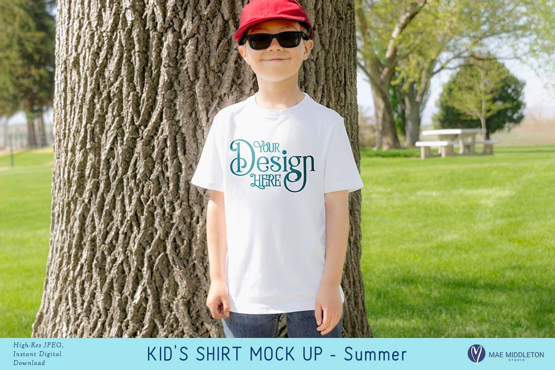 Kid's Shirt Mock up - for summer, styled photo example image 1