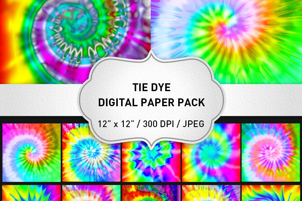 Tie Dye Digital Paper Pack / Tie Dye Background / Scrapbooking / Card Making / Patterns / Printables / Rainbow example image 1