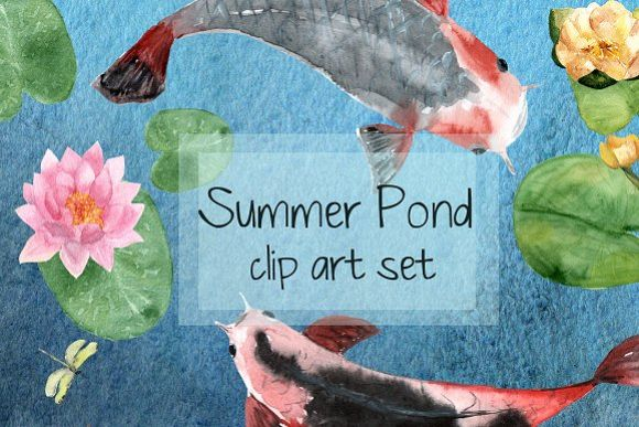Summer Pond - Watercolor Clip Art example image 1
