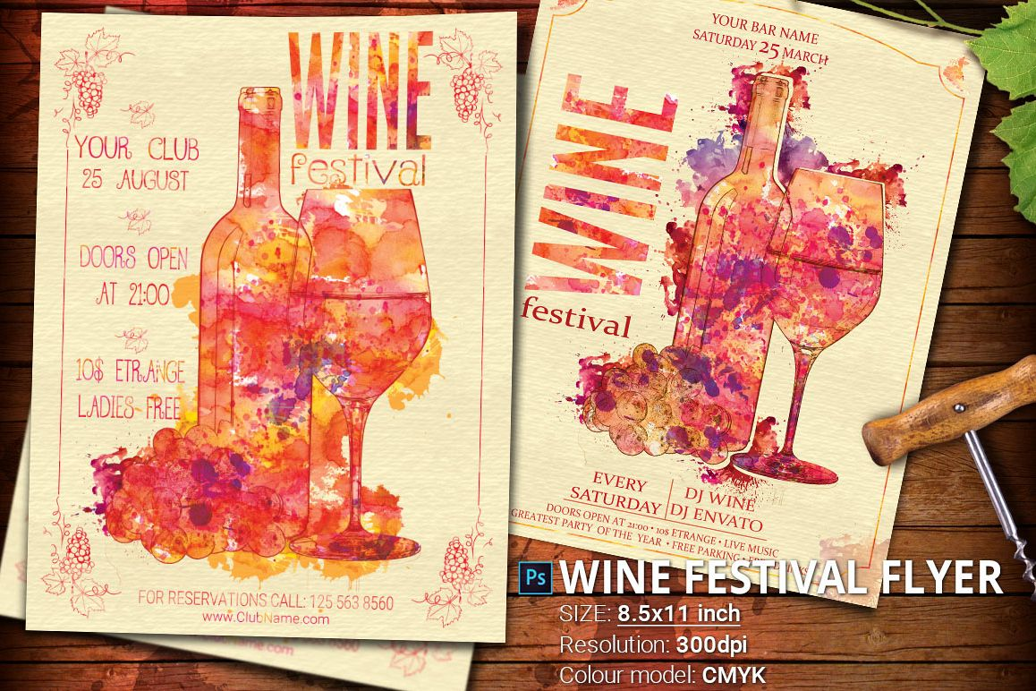 Wine Festival Flyer Poster Vintage example image 1