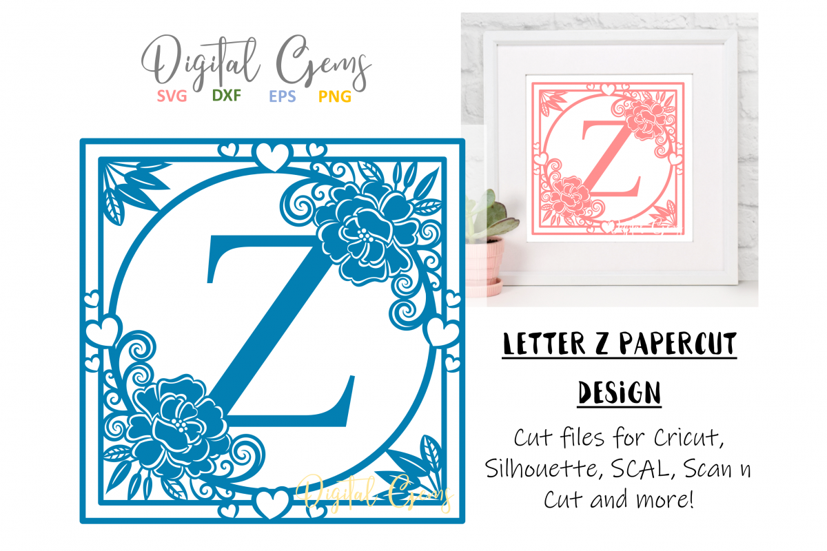 Letter Z papercut design. SVG / DXF / EPS files example image 1