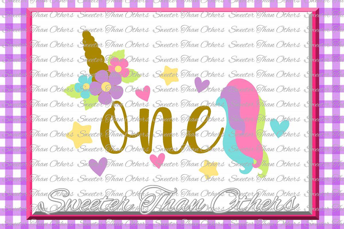 First Birthday SVG, Birthday Unicorn svg example image 1