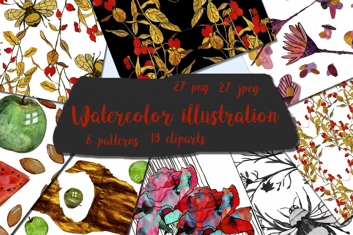 Colorful watercolor illustration. Patterns and elements example image 1