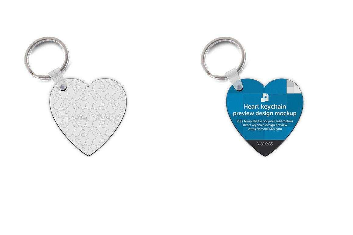 Heart Shape Keyring Design Mockup - 2 Views example image 1
