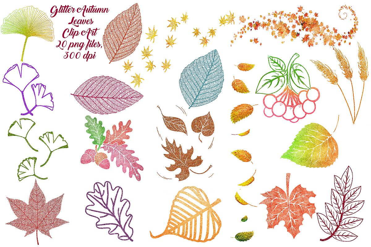 Autumn Glitter Leaf Clip Art example image 1