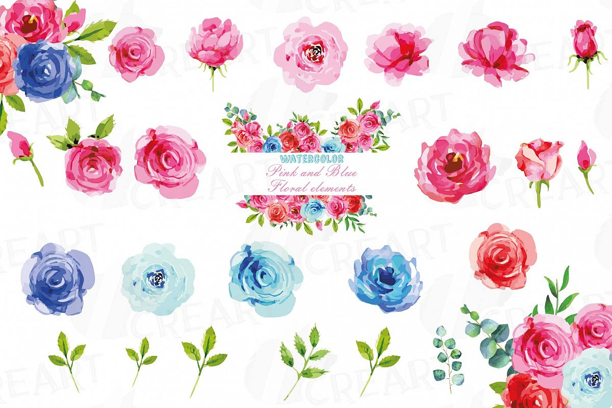 Watercolor Pink and Blue Roses and leafs clip art pack, png example image 1