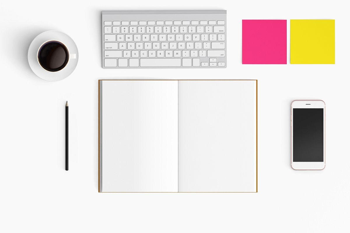 Modern workplace. Top view. Flat lay style. 24 example image 1