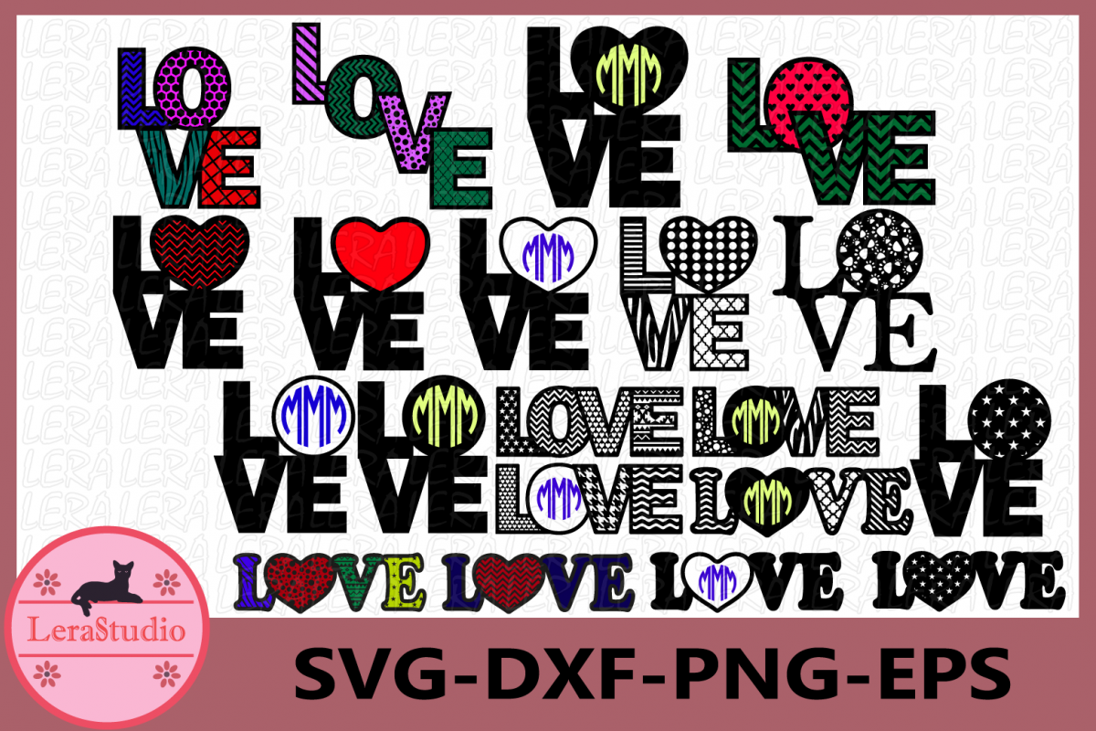 Love SVG, Love Monogram svg, Love File svg, Valentine Svg example image 1