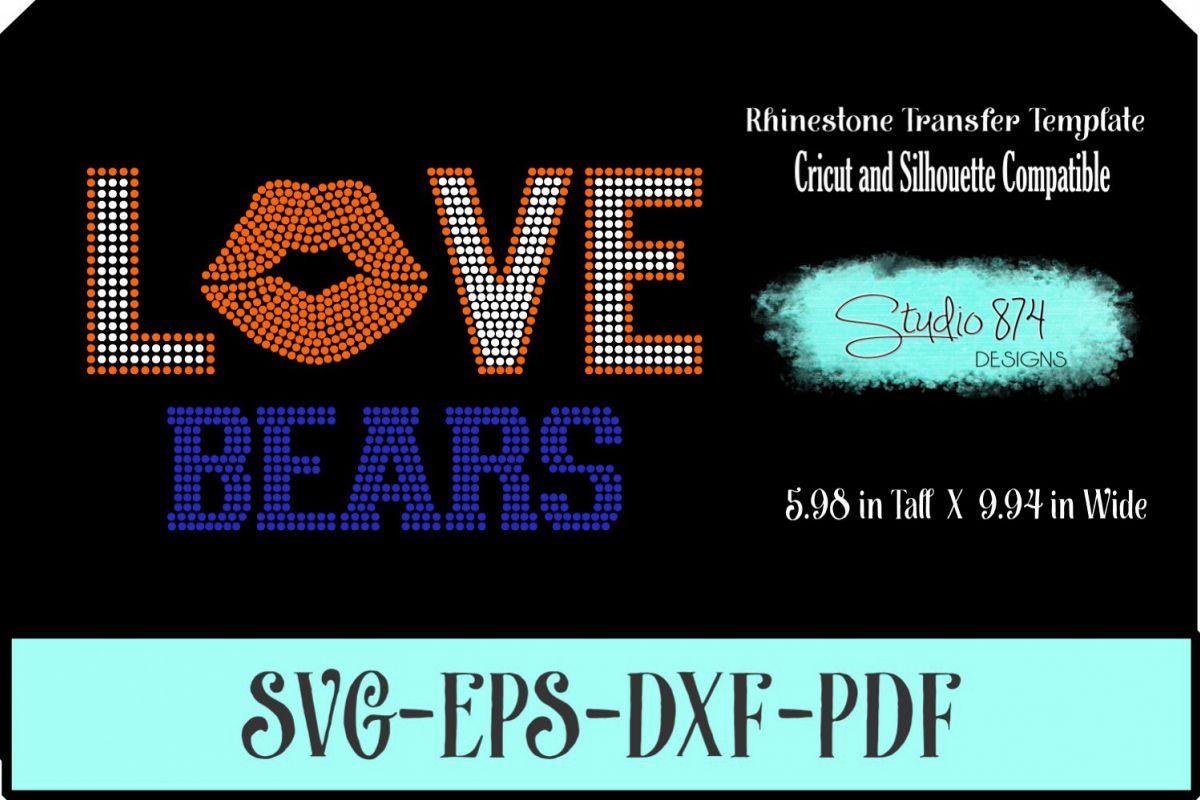 Love Bears Football Rhinestone Template Digital Download R1 example image 1