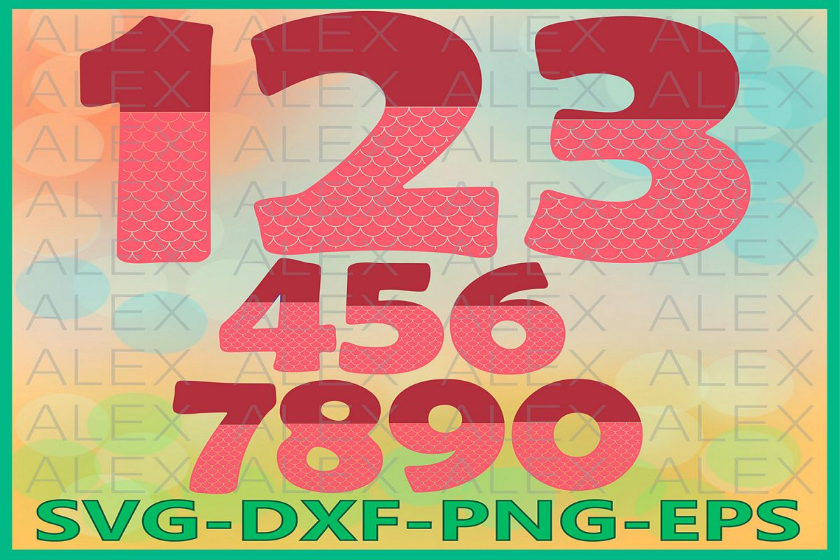 Mermaid Numbers Svg Files, Numbers Svg, Dxf, Png, Ai File example image 1