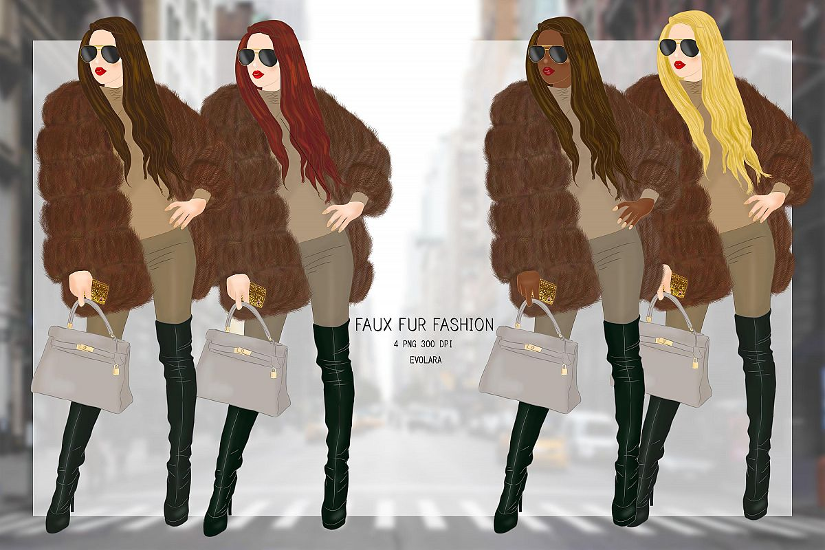 Fur Jacket Fashion Illustrations Fall Winter Fashion Clipart example image 1