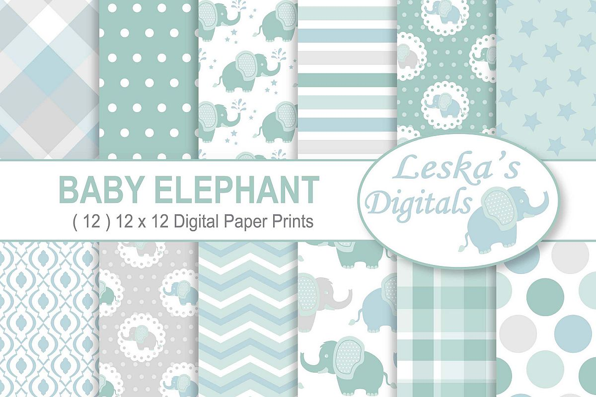 Baby Elephant Digital Paper Patterns - Green example image 1