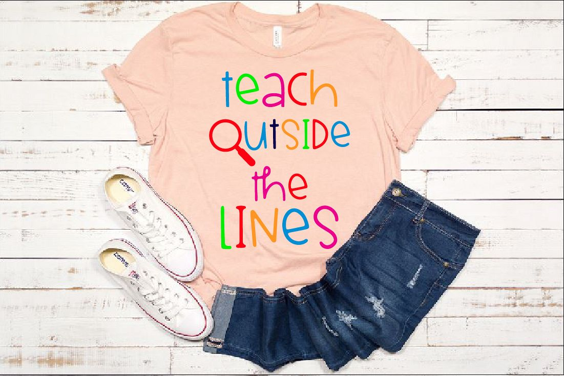 Teach Outside The Lines SVG Teacher Live Love 1247S example image 1