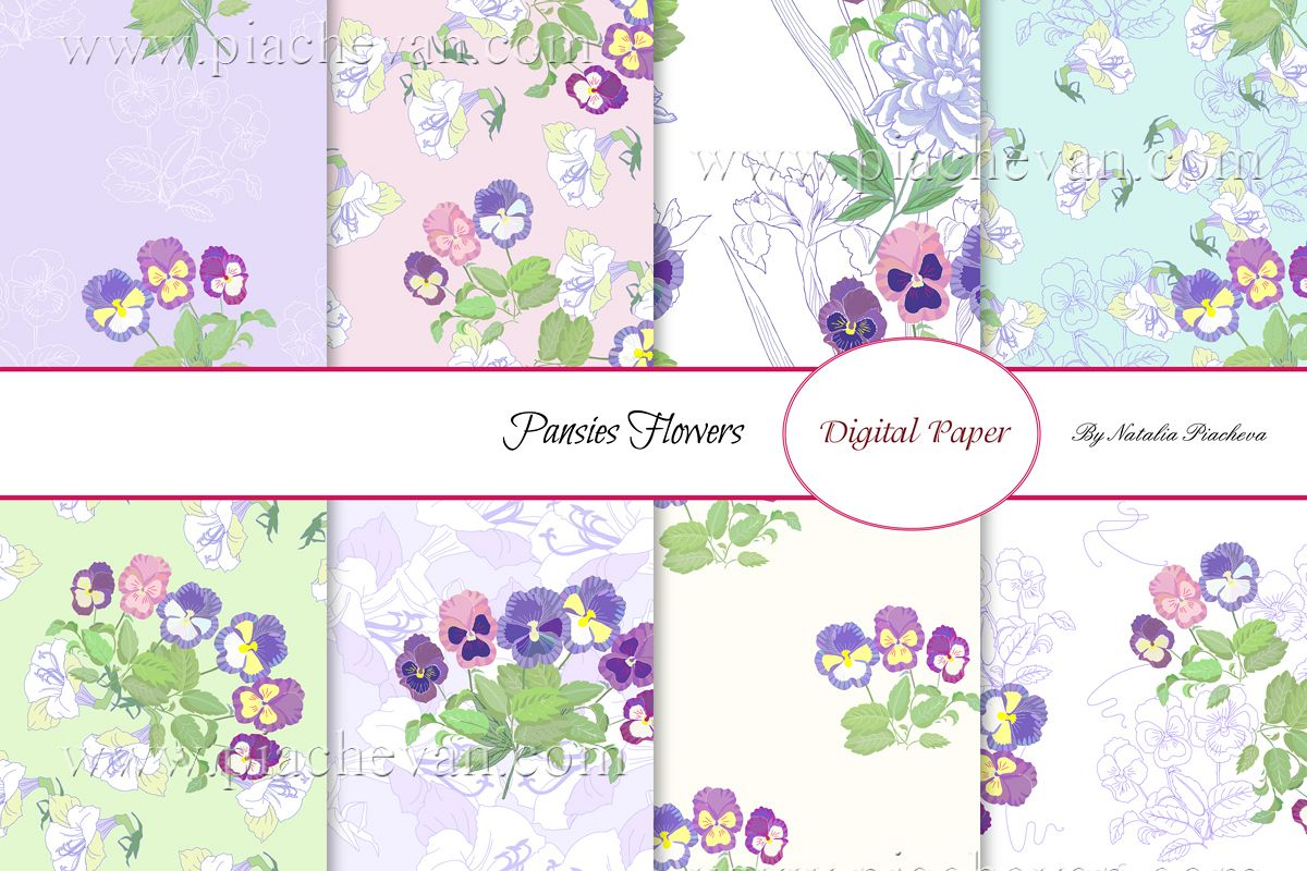 Digital paper with Pansies Flowers example image 1