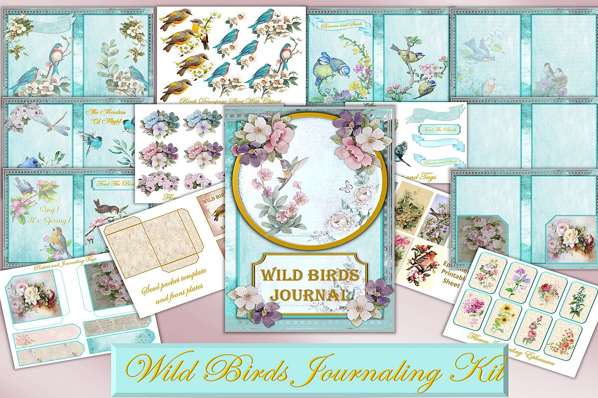 Printable Journal Kit with free Ephemera and clipart example image 1