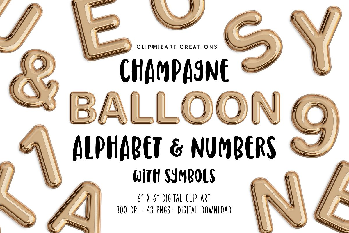 Champagne Balloon Alphabet & Numbers example image 1