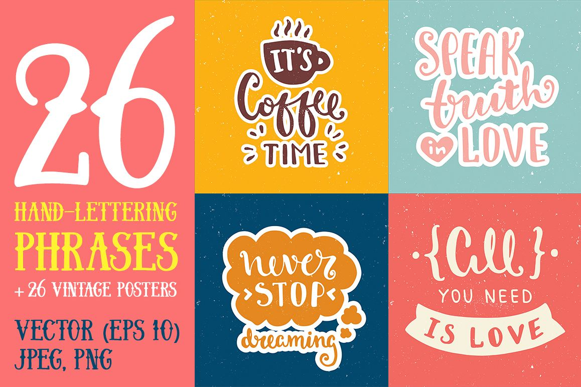 26 Hand Lettering Phrases & Posters example image 1