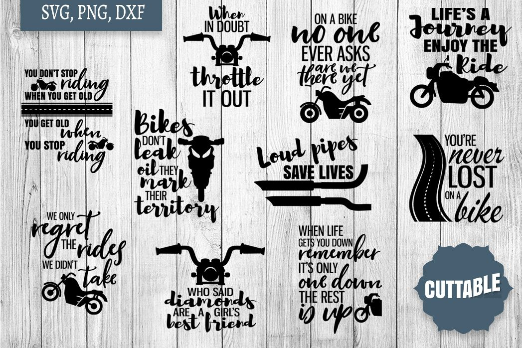 Biker Quote Bundle SVGs, Motorbike cut files, Biker cutfiles example image 1