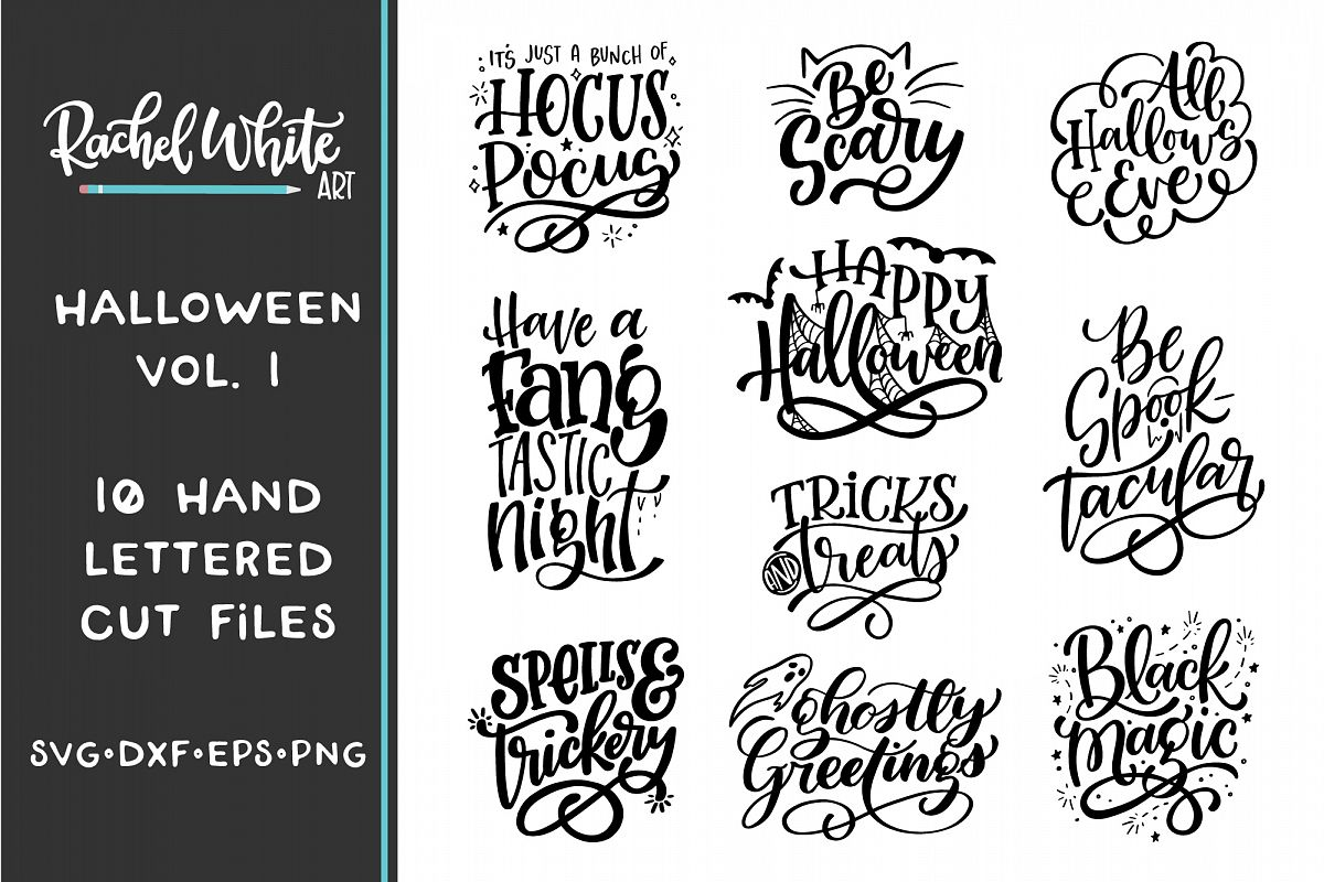 Halloween Hand Lettered Cut Files Bundle, SVG DXF EPS PNG example image 1