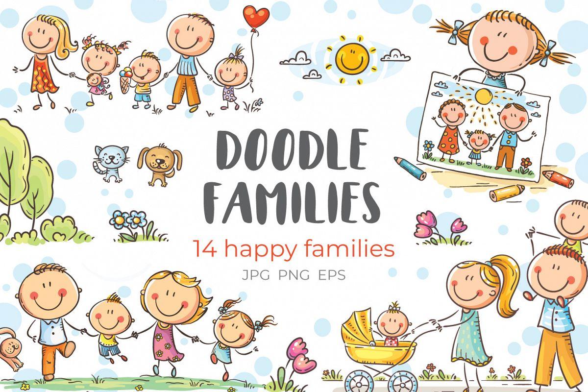 Happy doodle families bundle, vector example image 1
