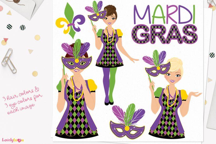 Mardis Gras woman character clip art L333 Juliet example image 1