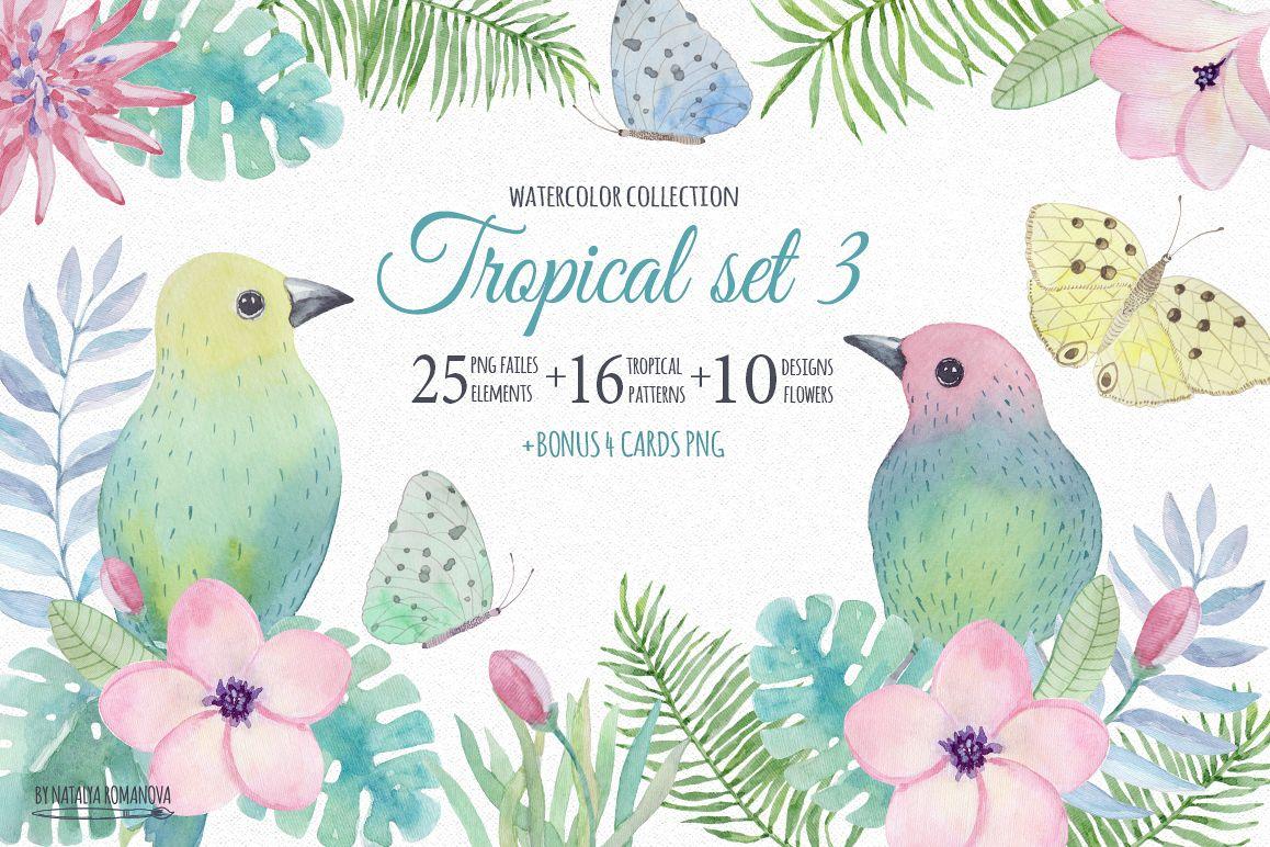 Tropical watercolor set 3. Plumeria by | Design Bundles