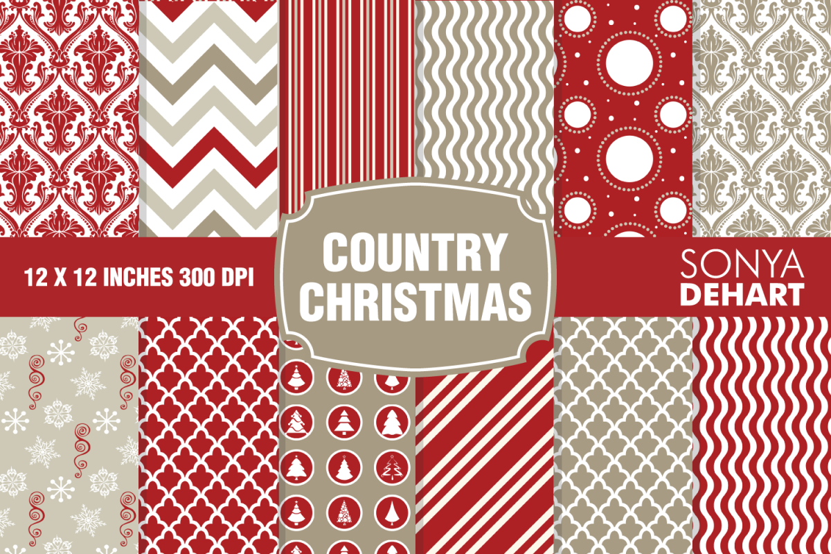 Country Christmas Vintage Farmhouse Digital Paper Patterns example image 1