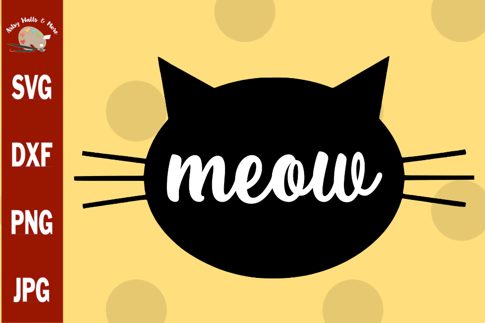 Meow Cat svg, funny cat svg cut file, funny cat shirt svg example image 1