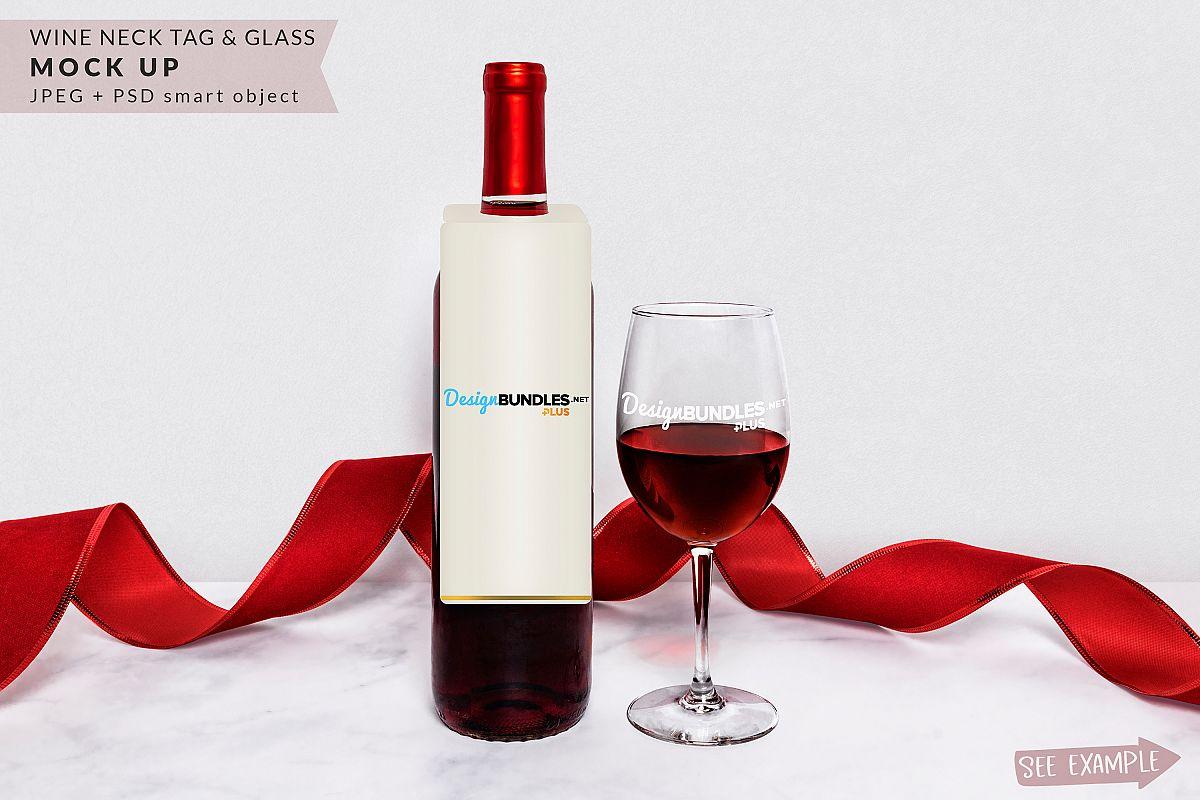 Wine Bottle Neck Tag & Wine Glass Mockup example image 1