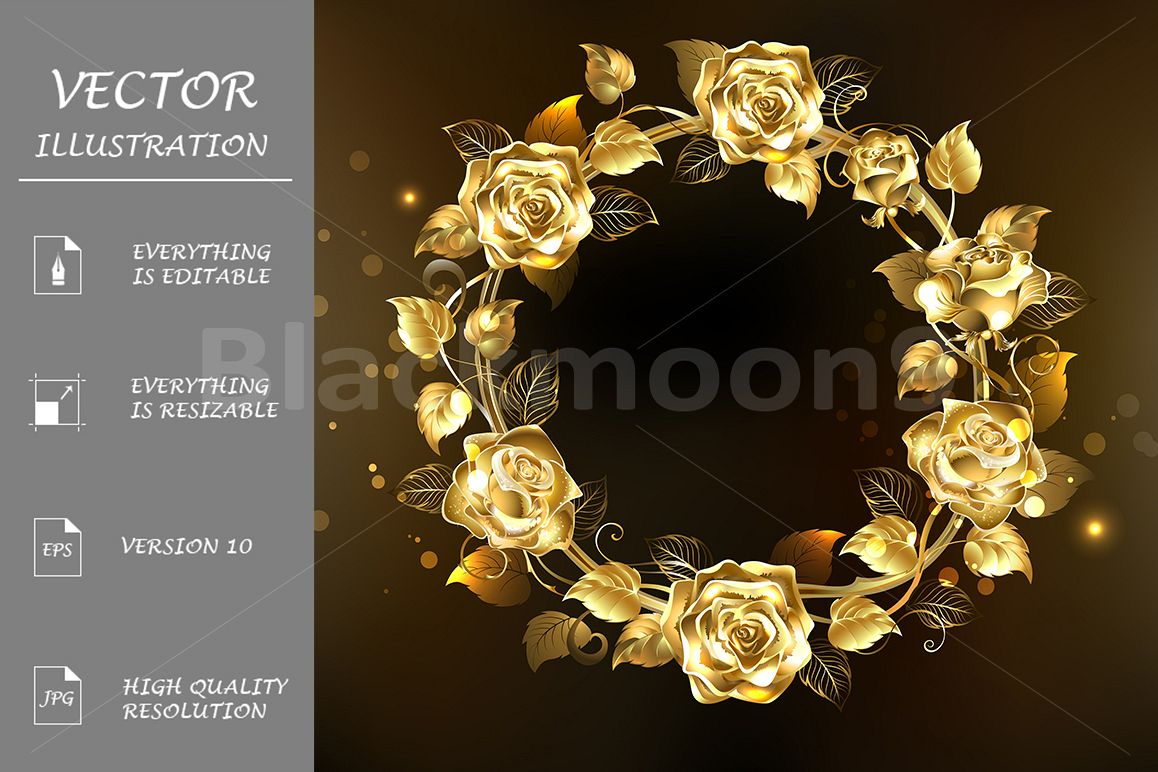 Wreath of Gold Roses example image 1