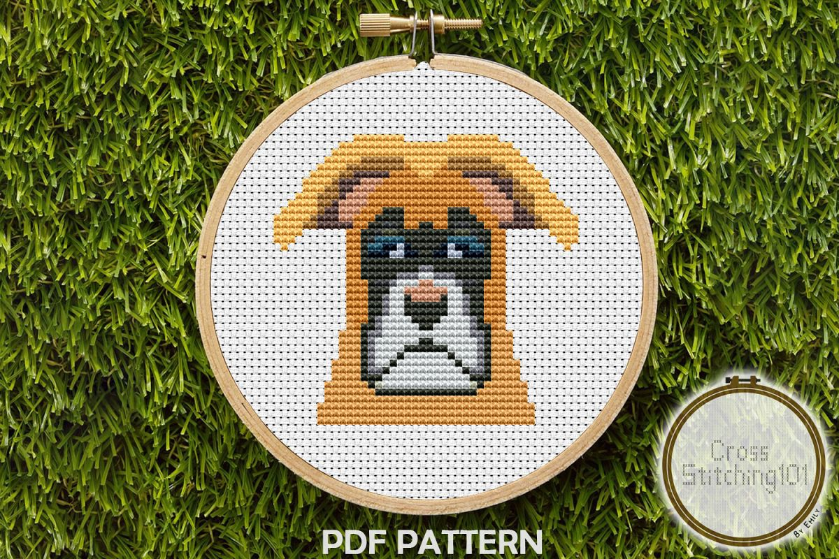 Boxer Dog Cross Stitch Pattern -Instant Download PDF example image 1