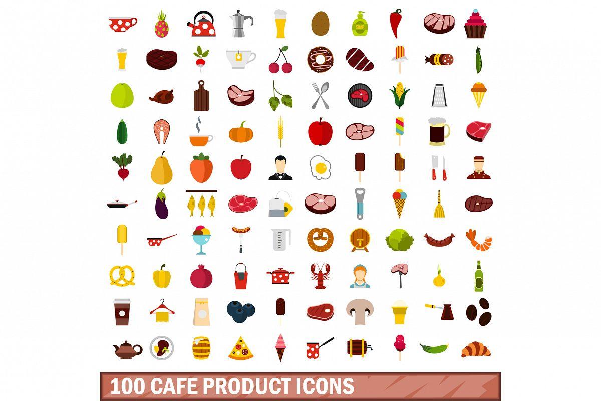 100 cafe product icons set, flat style example image 1