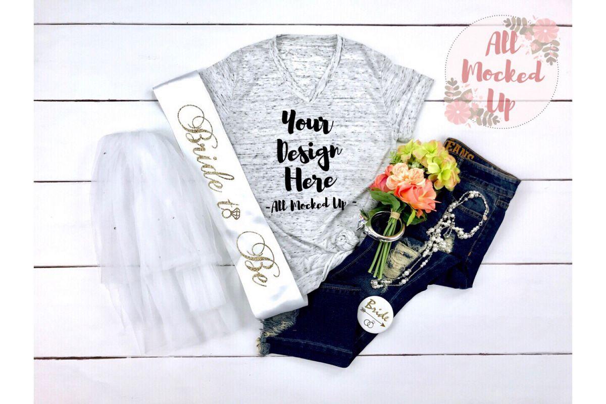 Bella Canvas 3005 White Marble Shirt Wedding Mock Up 3/19 example image 1
